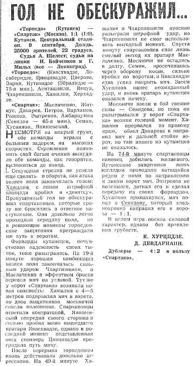Торпедо (Кутаиси) - Спартак (Москва) 1:1