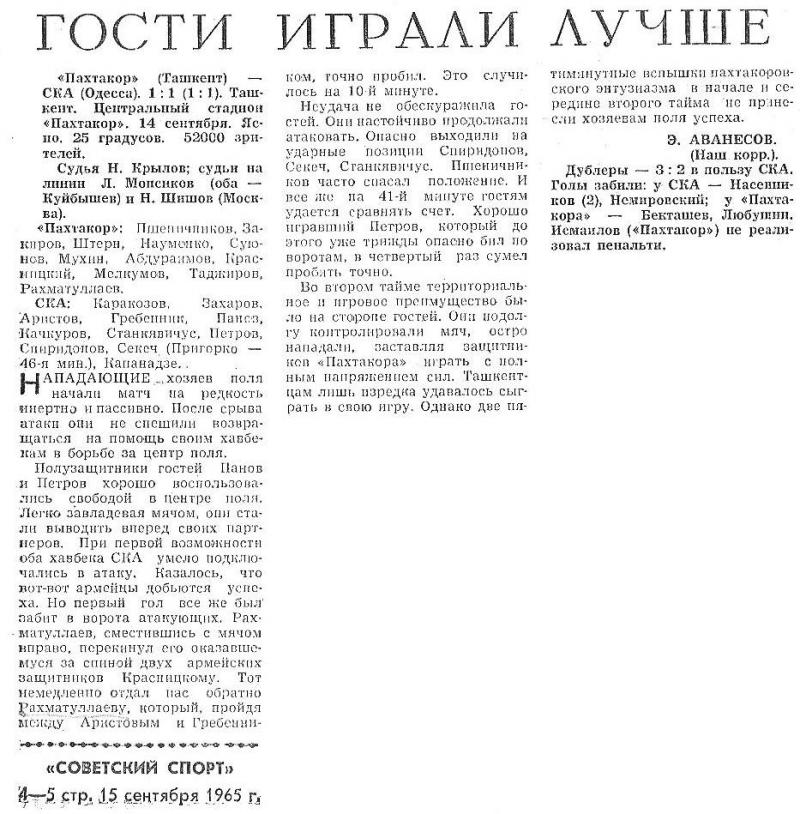 Пахтакор (Ташкент) - СКА (Одесса) 1:1. Нажмите, чтобы посмотреть истинный размер рисунка