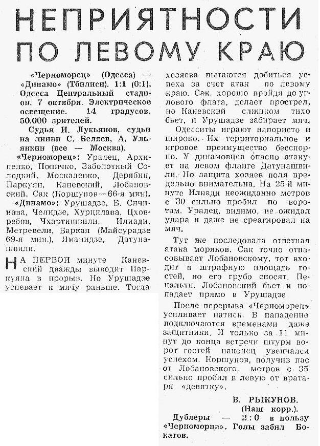 Черноморец (Одесса) - Динамо (Тбилиси) 1:1