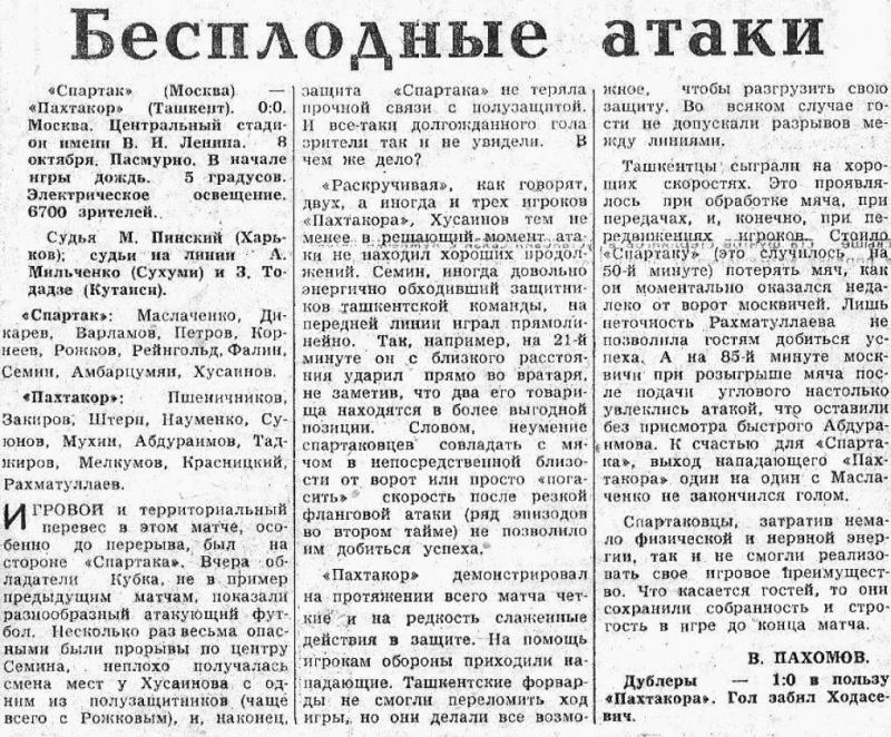 Спартак (Москва) - Пахтакор (Ташкент) 0:0. Нажмите, чтобы посмотреть истинный размер рисунка