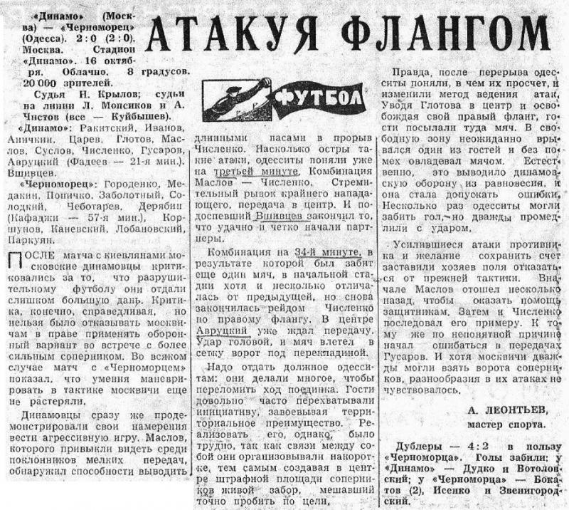 Динамо (Москва) - Черноморец (Одесса) 2:0. Нажмите, чтобы посмотреть истинный размер рисунка