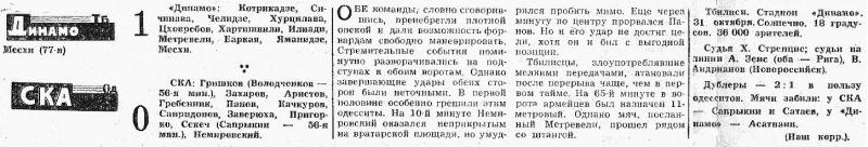 Динамо (Тбилиси) - СКА (Одесса) 1:0. Нажмите, чтобы посмотреть истинный размер рисунка