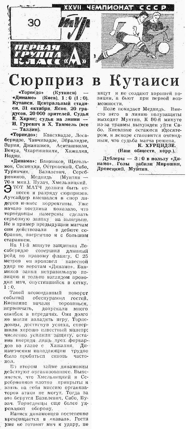 Торпедо (Кутаиси) - Динамо (Киев) 1:0
