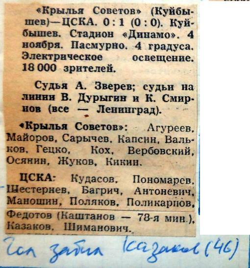 Крылья Советов (Куйбышев) - ЦСКА (Москва) 0:1