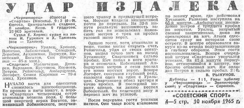Черноморец (Одесса) - Спартак (Москва) 0:2. Нажмите, чтобы посмотреть истинный размер рисунка