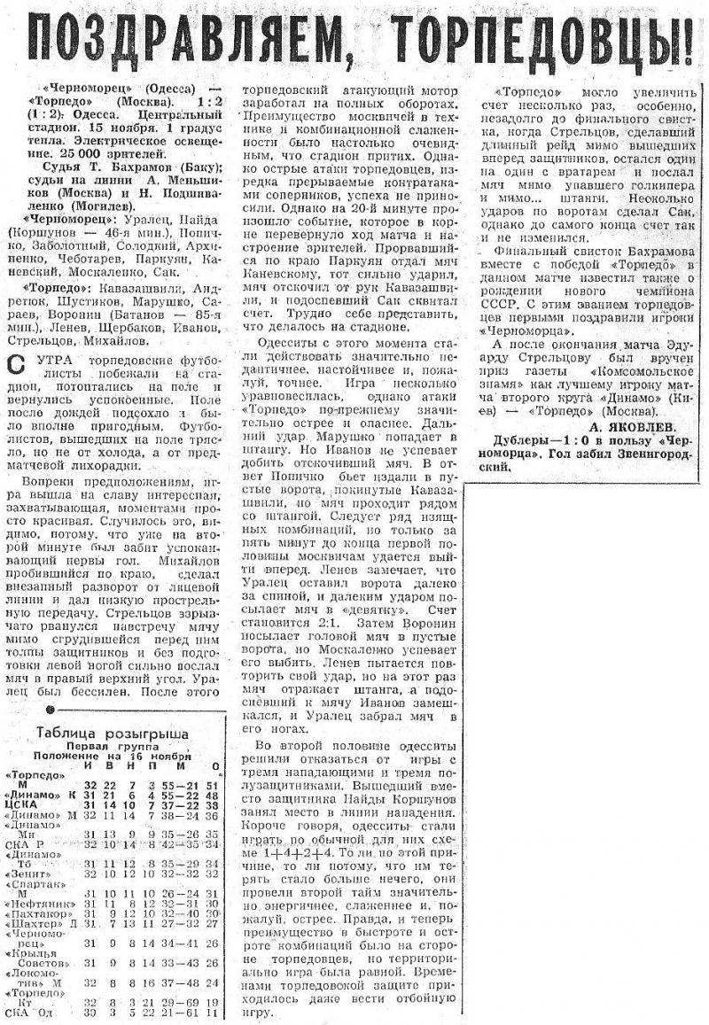 Черноморец (Одесса) - Торпедо (Москва) 1:2. Нажмите, чтобы посмотреть истинный размер рисунка