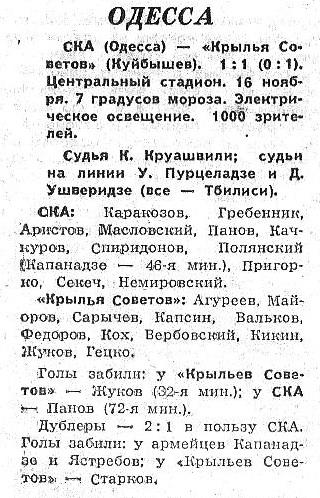 СКА (Одесса) - Крылья Советов (Куйбышев) 1:1