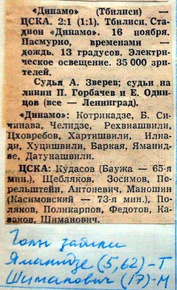 Динамо (Тбилиси) - ЦСКА (Москва) 2:1