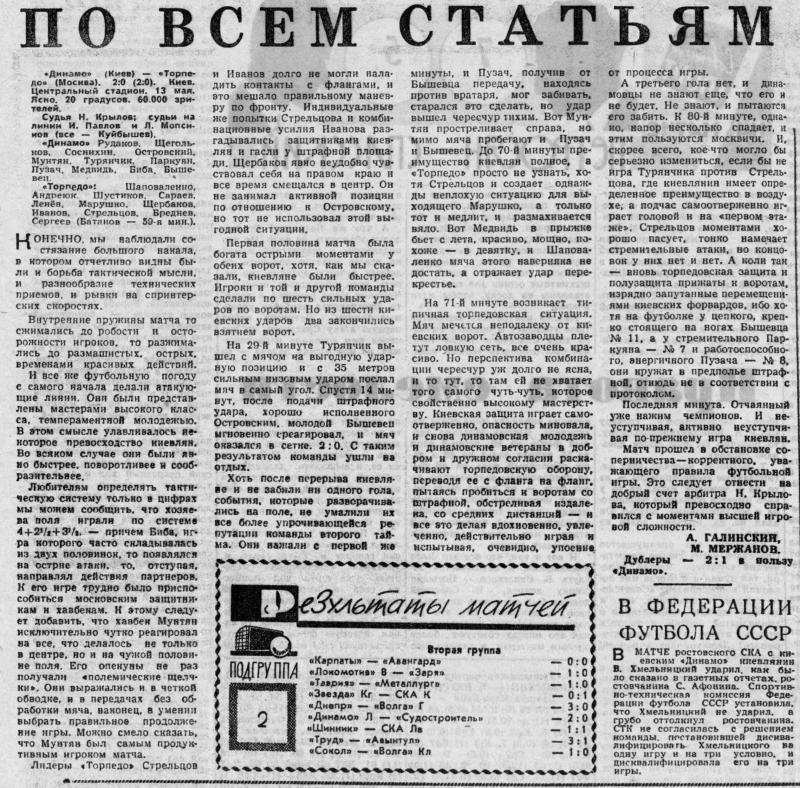 Динамо (Киев) - Торпедо (Москва) 2:0. Нажмите, чтобы посмотреть истинный размер рисунка