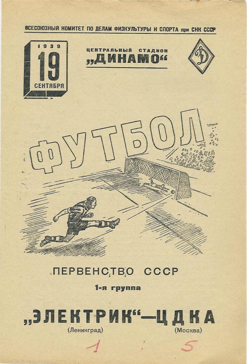 ЦДКА (Москва) - Электрик (Ленинград) 6:1. Нажмите, чтобы посмотреть истинный размер рисунка