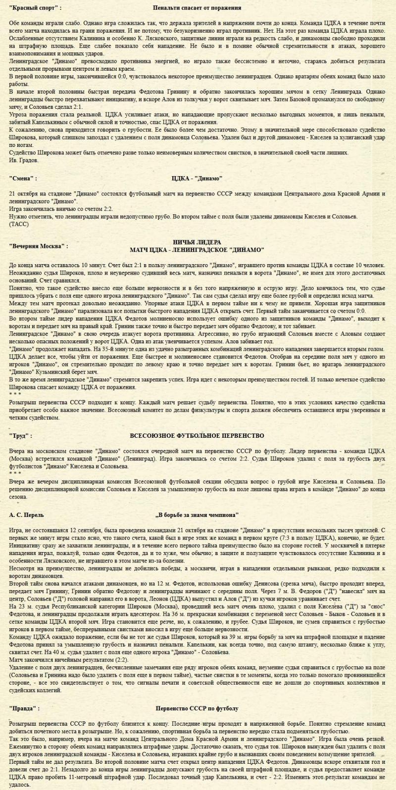 ЦДКА (Москва) - Динамо (Ленинград) 2:2. Нажмите, чтобы посмотреть истинный размер рисунка