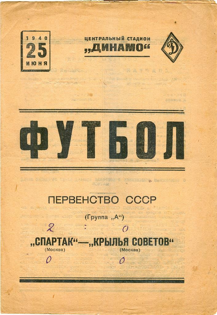 Крылья Советов (Москва) - Спартак (Москва) 0:2