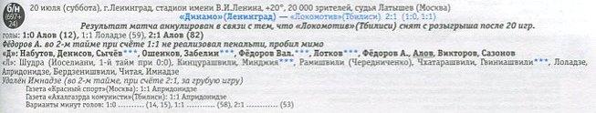 Динамо (Ленинград) - Локомотив (Тбилиси) 2:1 ан.