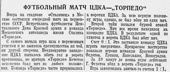 Торпедо (Москва) - ЦДКА (Москва) 1:1