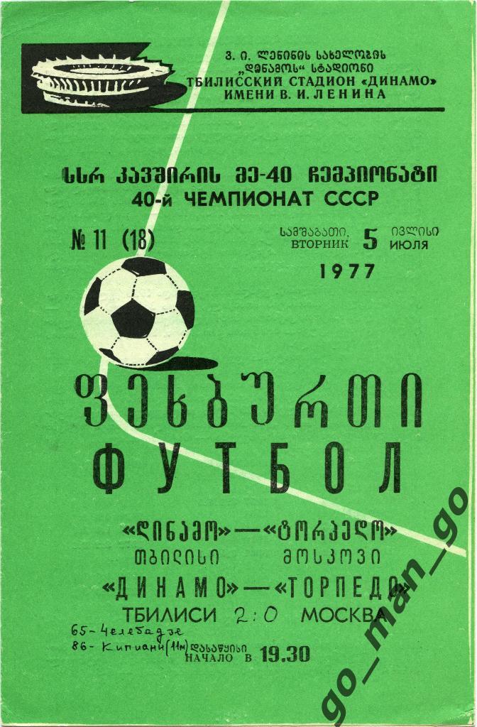 Динамо (Тбилиси) - Торпедо (Москва) 2:0