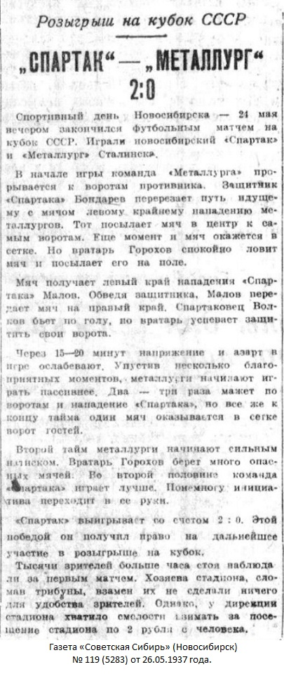 Спартак (Новосибирск) - Металлург Востока (Сталинск) 2:0