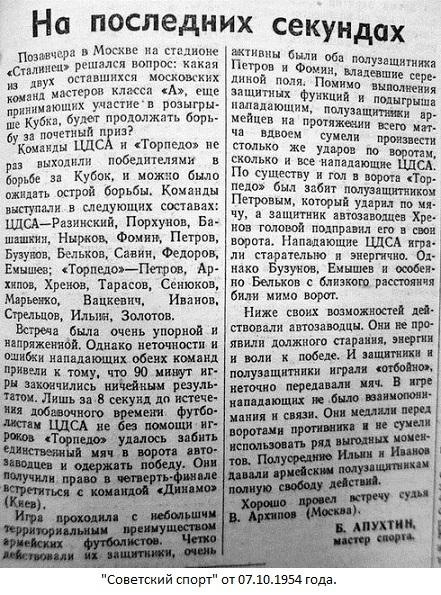 ЦДСА (Москва) - Торпедо (Москва) 1:0 д.в.