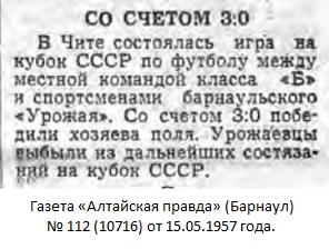 ОСК (Чита) - Урожай (Барнаул) 3:0
