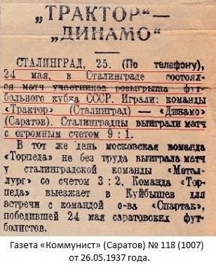 Трактор (Сталинград) - Динамо (Саратов) 9:1