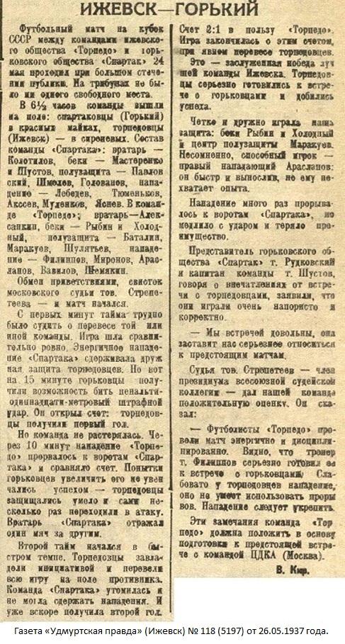 Торпедо - мотоциклетный завод (Ижевск) - Спартак (Горький) 2:1
