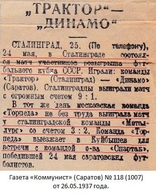 Металлург (Сталинград) - Торпедо (Москва) 2:3 д.в.