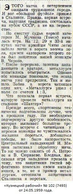Металлург (Сталинск) - СКВО (Чита) 1:3