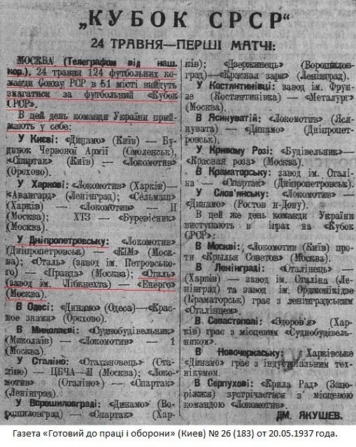 Сталь - завод им. К.Либкнехта (Днепропетровск) - Энергия (Москва) 0:2