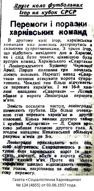 Спартак (Харьков) - ЛДКА им. С.М. Кирова (Ленинград) 4:1