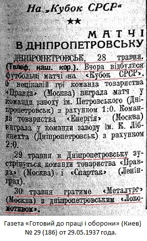 Локомотив (Днепропетровск) - Металлург (Москва) 3:2
