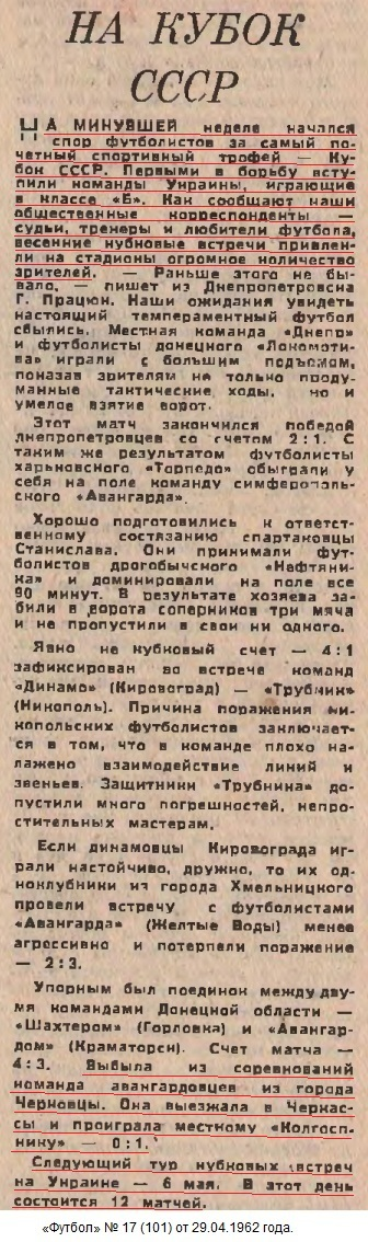 Колгоспник (Черкассы) - Авангард (Черновцы) 1:0