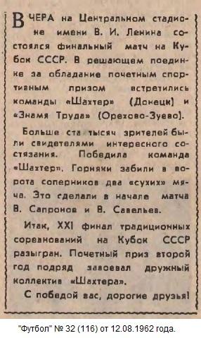 Шахтёр (Донецк) - Знамя Труда (Орехово-Зуево) 2:0
