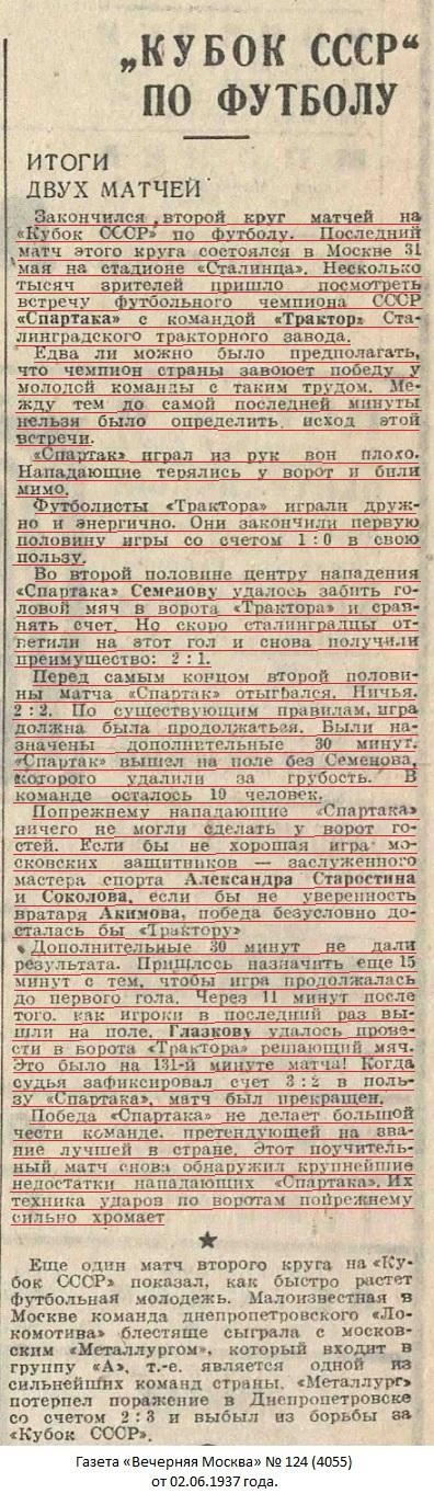 Спартак (Москва) - Трактор (Сталинград) 3:2 д.в.