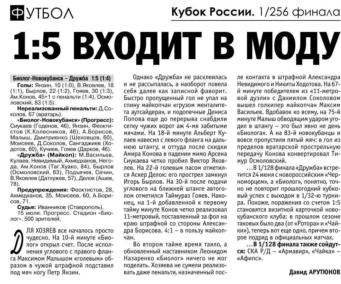 Биолог-Новокубанск (пос. Прогресс) - Дружба (Майкоп) 1:5. Нажмите, чтобы посмотреть истинный размер рисунка