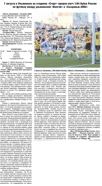 Волга (Ульяновск) - Сызрань-2003 (Сызрань) 1:1 д.в. пен. 1:3. Нажмите, чтобы посмотреть истинный размер рисунка