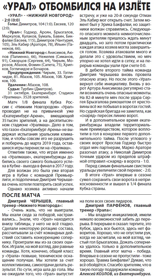 Урал (Екатеринбург) - Нижний Новгород (Нижний Новгород) 2:0 д.в.