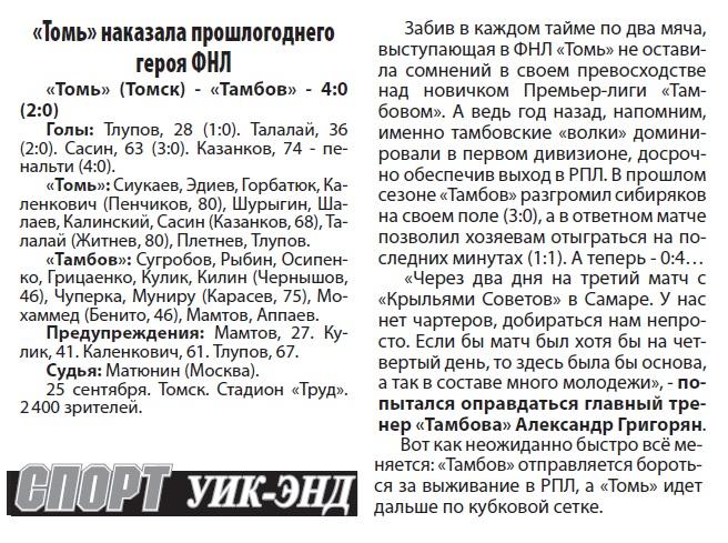 Томь (Томск) - Тамбов (Тамбов) 4:0