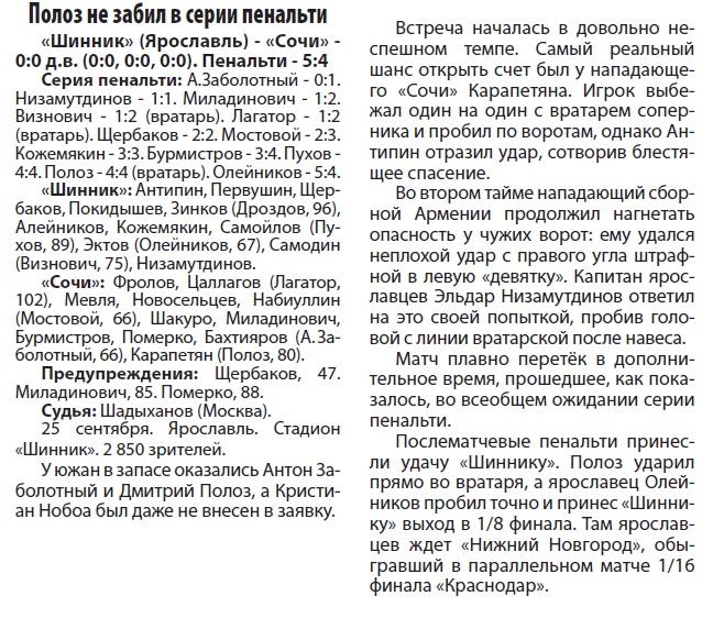 Шинник (Ярославль) - Сочи (Сочи) 0:0 пен. 5:4