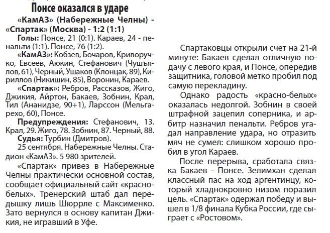 КамАЗ (Набережные Челны) - Спартак (Москва) 1:2