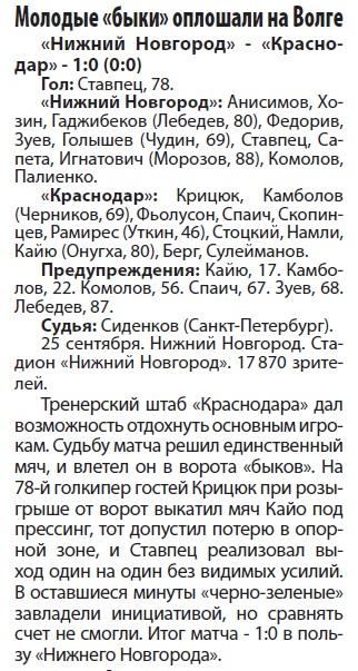 Нижний Новгород (Нижний Новгород) - Краснодар (Краснодар) 1:0