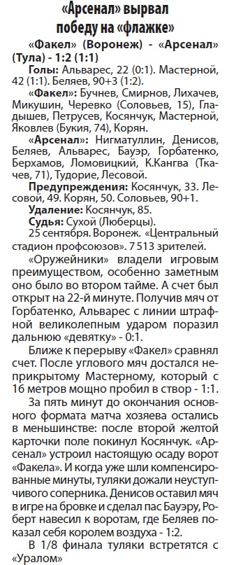 Факел (Воронеж) - Арсенал (Тула) 1:2