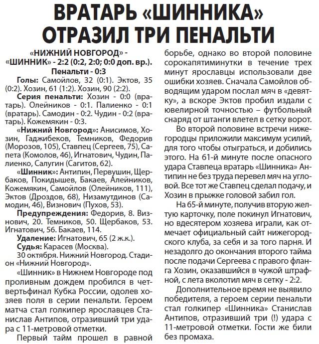 Нижний Новгород (Нижний Новгород) - Шинник (Ярославль) 2:2 пен. 0:3