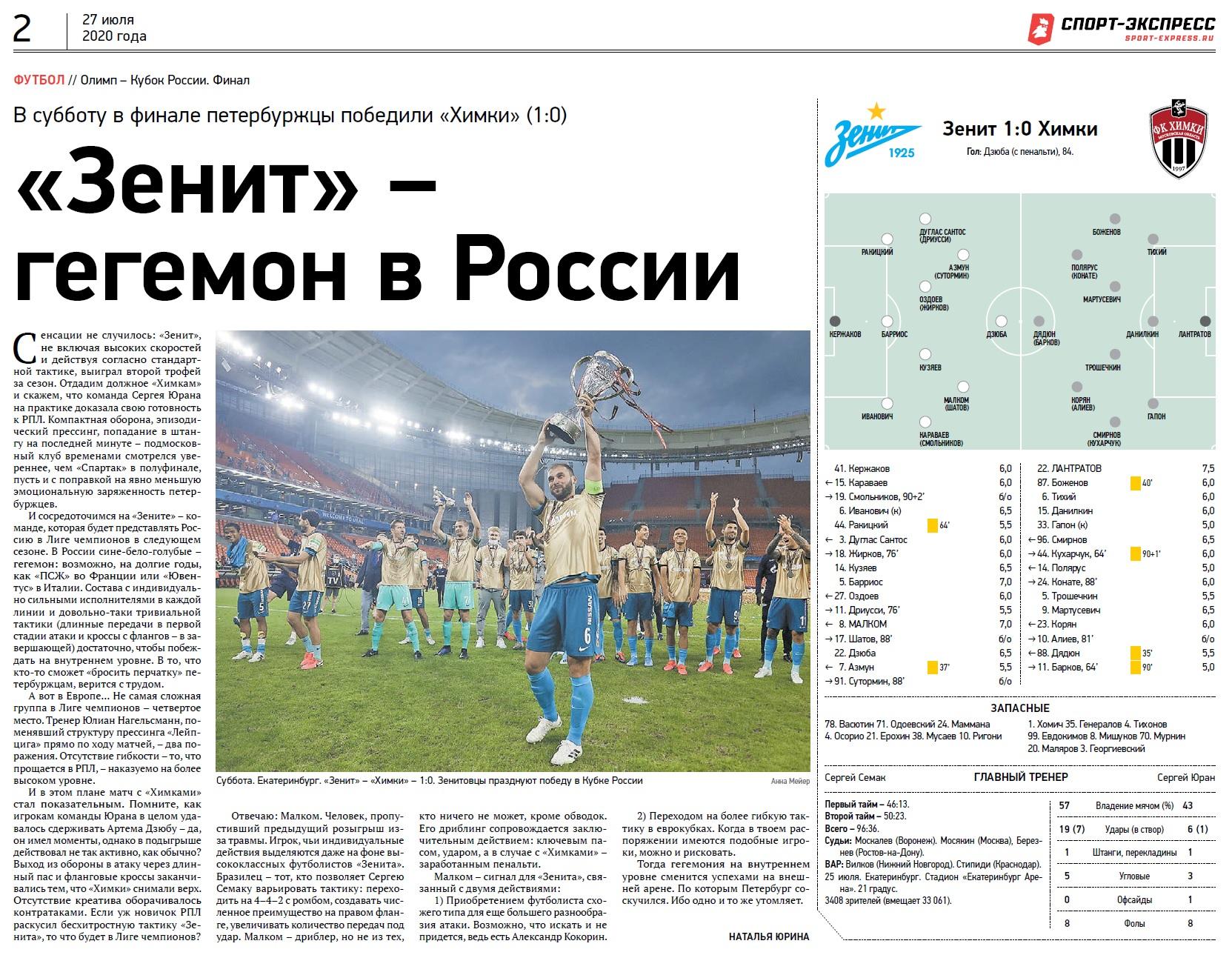 Зенит (Санкт-Петербург) - Химки (Химки) 1:0. Нажмите, чтобы посмотреть истинный размер рисунка