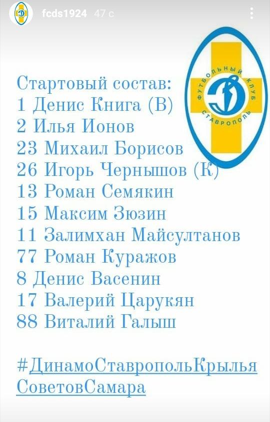 Динамо (Ставрополь) - Крылья Советов (Самара) 1:4