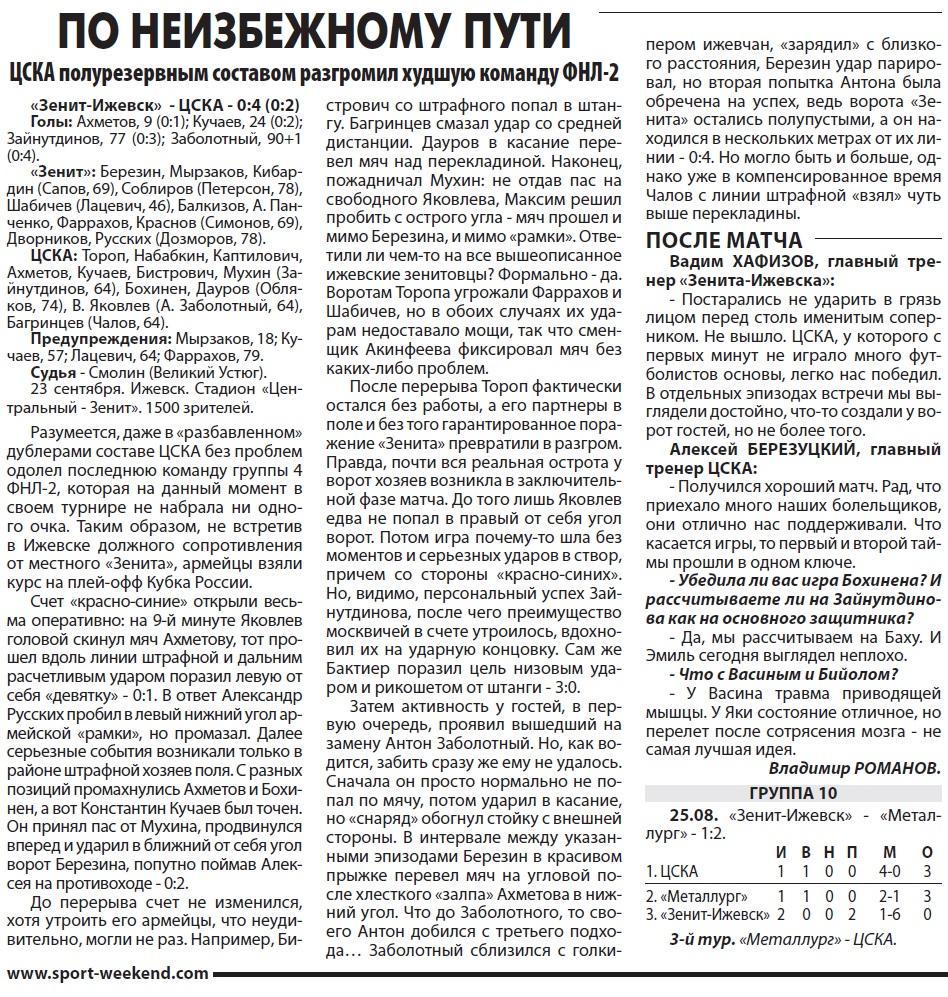 Зенит-Ижевск (Ижевск) - ЦСКА (Москва) 0:4. Нажмите, чтобы посмотреть истинный размер рисунка