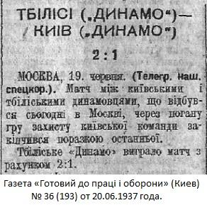 Динамо (Тбилиси) - Динамо (Киев) 2:1