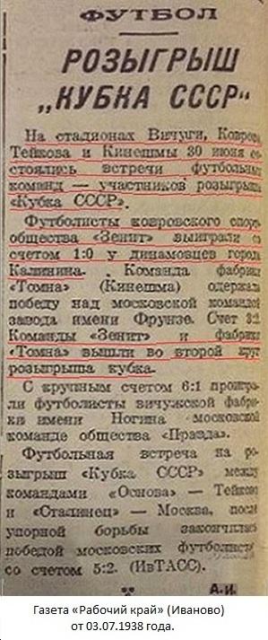 Зенит - инструментальный завод № 2 им. К.О. Киркижа (Ковров) - Динамо (Калинин) 1:0