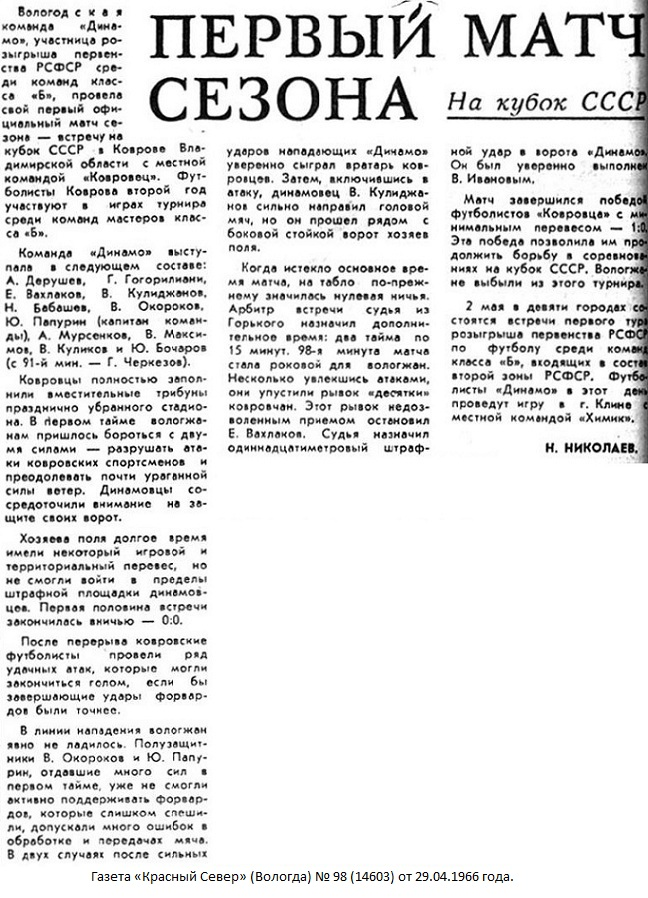 Ковровец (Ковров) - Динамо (Вологда) 1:0 д.в.