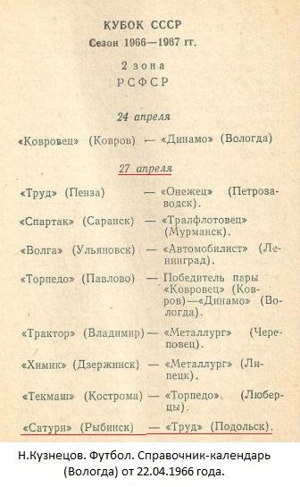 Сатурн (Рыбинск) - Торпедо (Подольск) 1:0