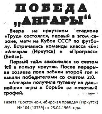 Ангара (Иркутск) - Прогресс (Бийск) 2:0