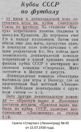 Локомотив (Ярославль) - Красная Заря-2 (Ленинград) 2:1